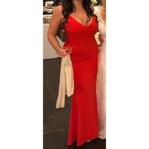 Lulu's Infinite Glory Coral Red Maxi Dress